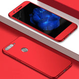 Huawe Y7 Prime (2018) & P Smart 360 Protection Front+Back+Free Glass (2018)/honor 7C / Red