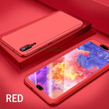 Huawei P20 Lite 360 Protection Front+Back+Free Glass / Red