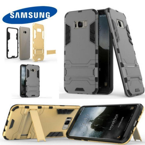 Hybrid Tpu+Pc Iron Man Armor Shield Case For Samsung S8 & S8Plus Stand Holder Back Cover