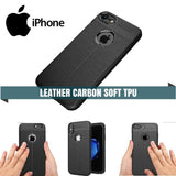 Iphone Leather Carbon Soft Tpu Protective Case