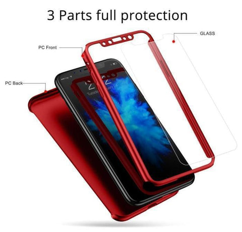 Iphone X/xs Full Protection 360 Degree Case+Free Glass