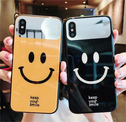 iPhone Hybrid Glass Back Smile Case Shock Proof