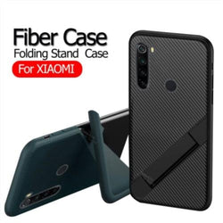 Ultra Thin Carbon Fiber Folding Stand Telefoon Case Voor Redmi Note Series Luxe Silicone Bracket Cover