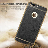 Leather Electroplated Case For Iphone All Models 7Plus / Black