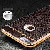 Leather Electroplated Case For Iphone All Models 7Plus / Brown
