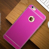 Leather Electroplated Case For Iphone All Models 7Plus / Pink
