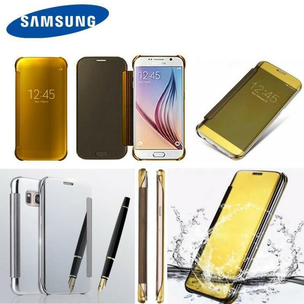Luxury Mirror Pu Flip Case For All Samsung Models & Huawei P9
