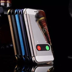 Mirror Flip Case For Iphone With Call Hole And Back Logo