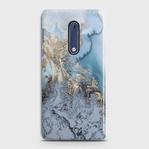 NOKIA 5 Golden Blue Marble Case
