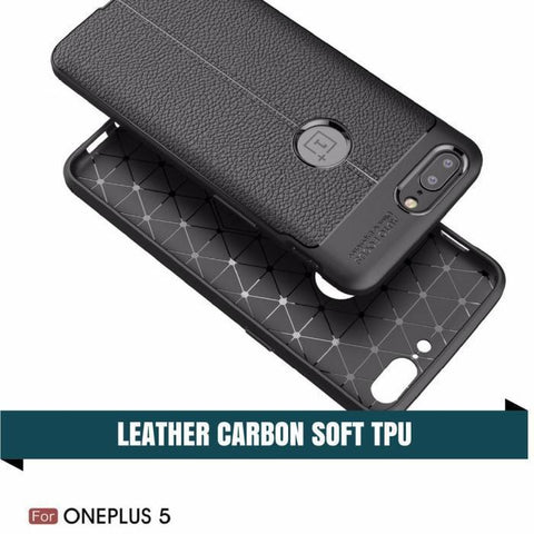 Oneplus 5 & 6 Carbon Leather Tpu Protective Case