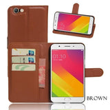 Oppo All Model Leather Flip Wallet Case F1S/a59 / Brown