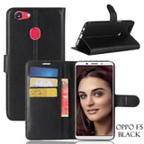 Oppo All Model Leather Flip Wallet Case F5 / Black