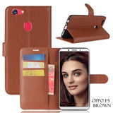 Oppo All Model Leather Flip Wallet Case F5 / Brown