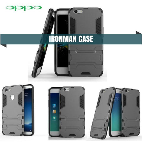 Oppo Iron Man Cover Hybrid Triple Protection Shock Proof With Kickstand