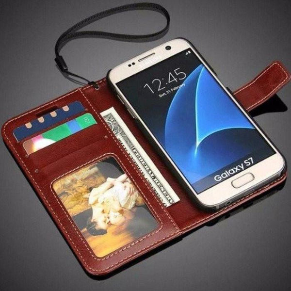 Samsung Galaxy Leather Flip Case S7Edge / Brown