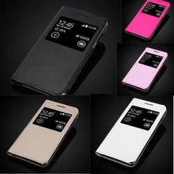 Window View Leather Flip Case For Samsung Note Edge/note4 Edge/n9150