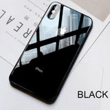 With Logo Iphone Premium Glass Back Tempered Case X / Black