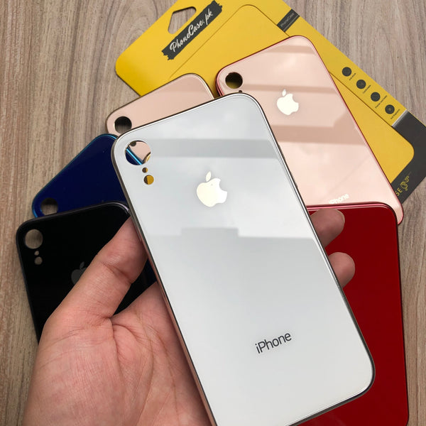 with Logo iPhone Premium Glass Back Tempered Glass Case