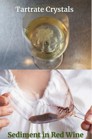 example of tartrate crystals and sediment in wine