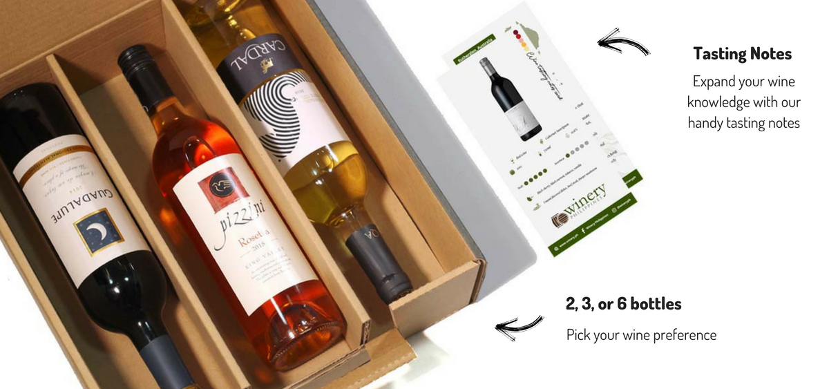 Your wine subscription box includes hand-picked, curated wines along with tasting notes. Wine subscription boxes ship straight to your Philippine address every month.