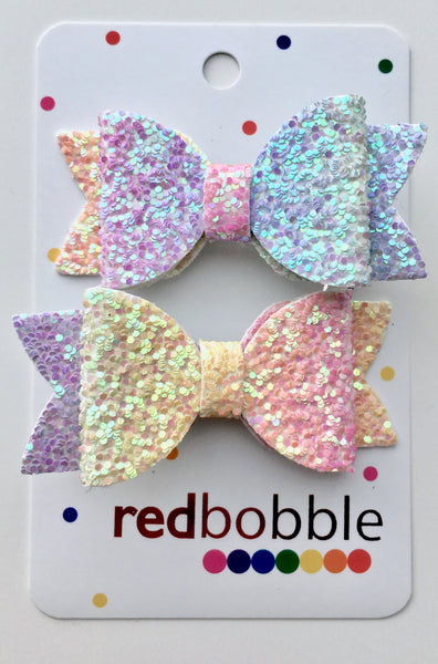 Double Glitter Mini Bow Clips