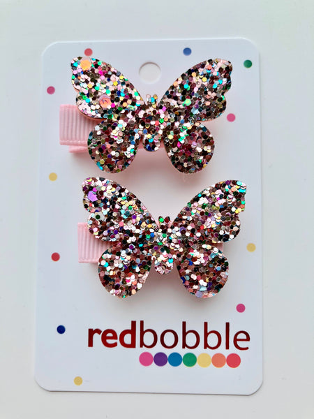 Glitter Butterfly Hair Clips (2pk)