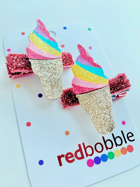 Glitter Ice Cream Hair Clips 2pk