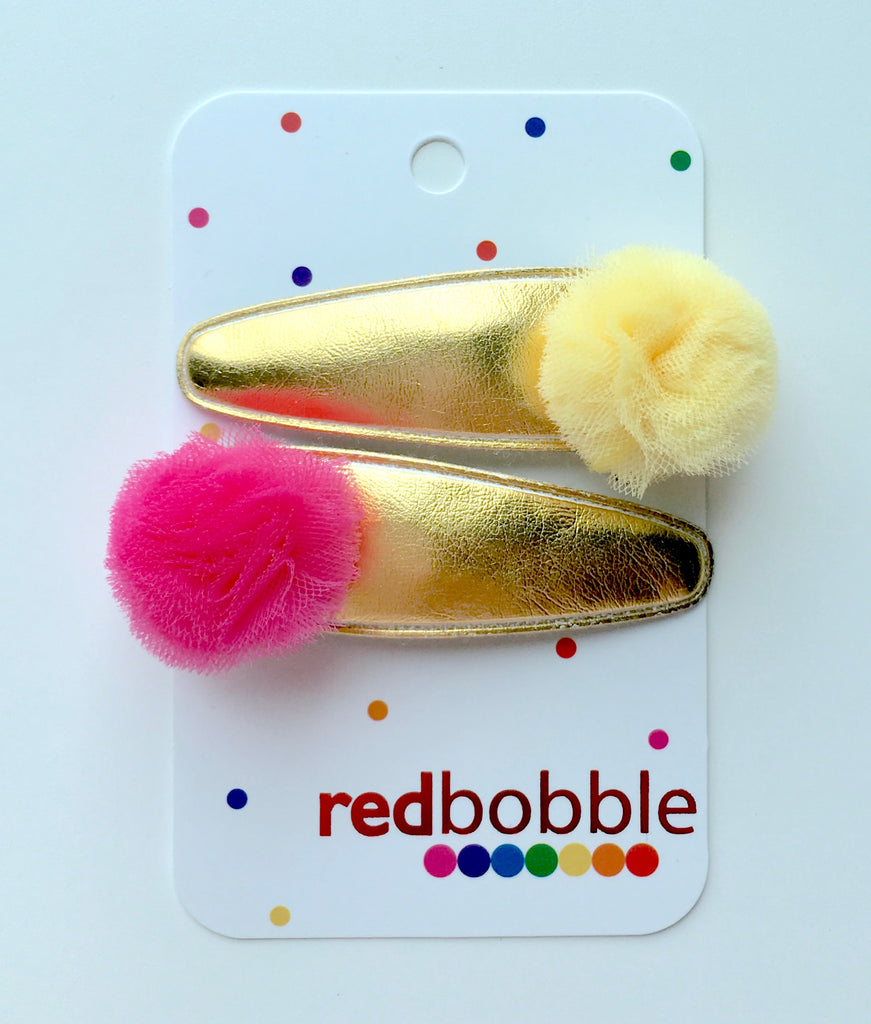 Gold Pom Pom Hair Clips (2pk) - SALE!
