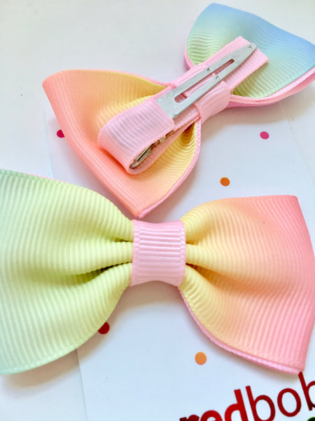 Pastel Rainbow Bow Hair Clips (2pk)