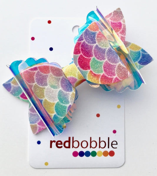 Rainbow Scale Bow Hair Clip