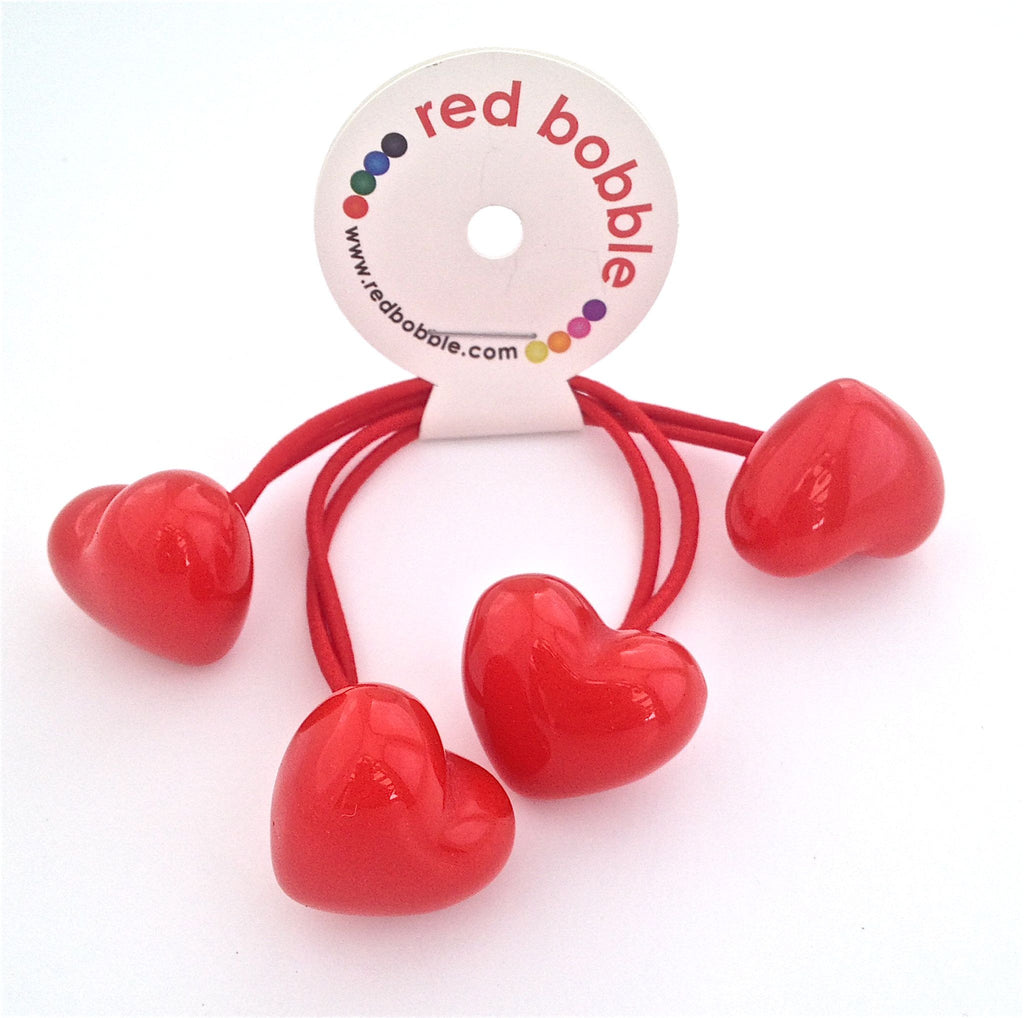 Large Red Heart Hair Ties