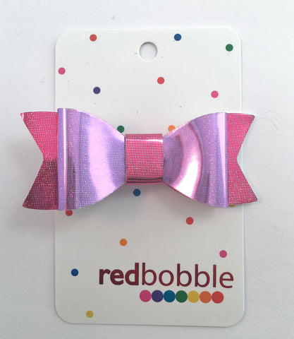 Violet & Rose Shiny Bow Hair Clip