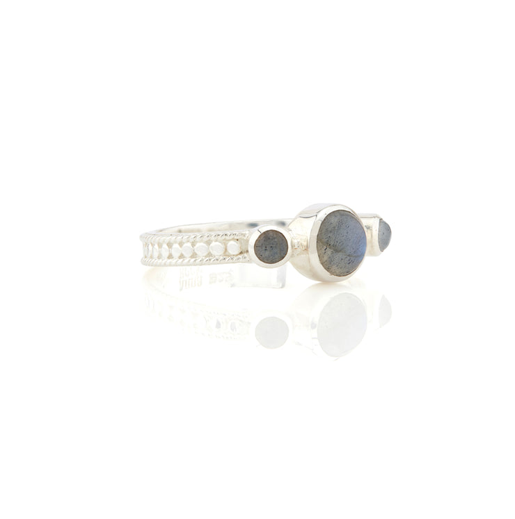 Anna Beck Labradorite Triple Stone Stacking Ring Silver