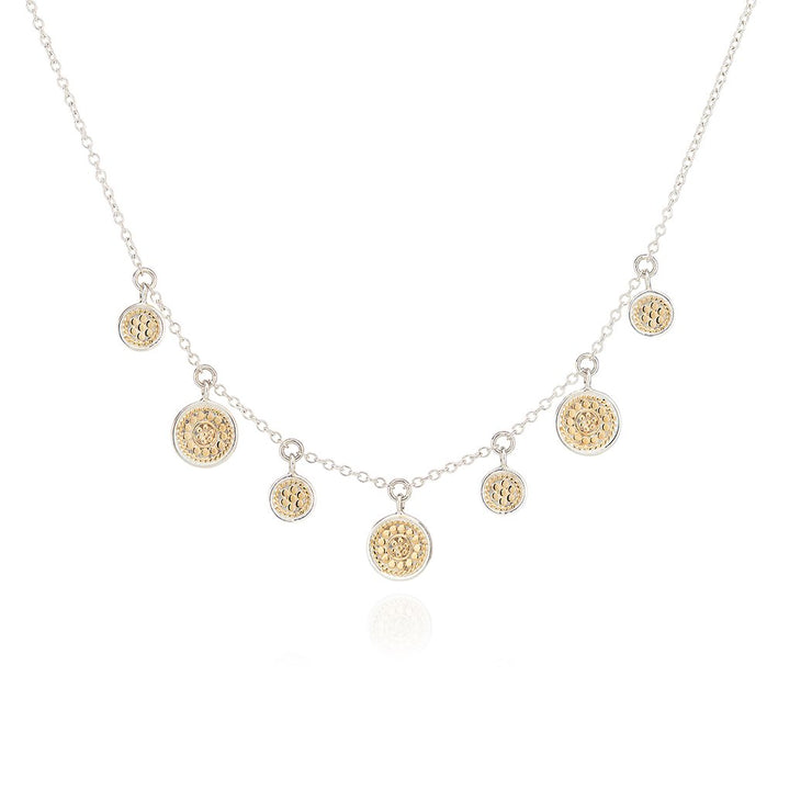Anna Beck Mini Disk Charm Necklace Gold and Silver
