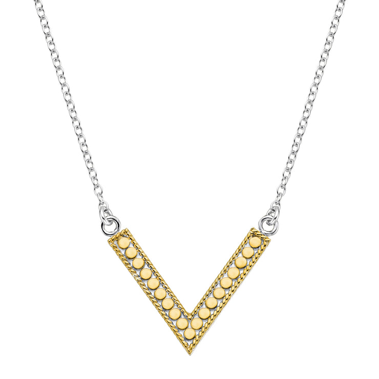 Anna Beck Reversible V Necklace Gold and Silver