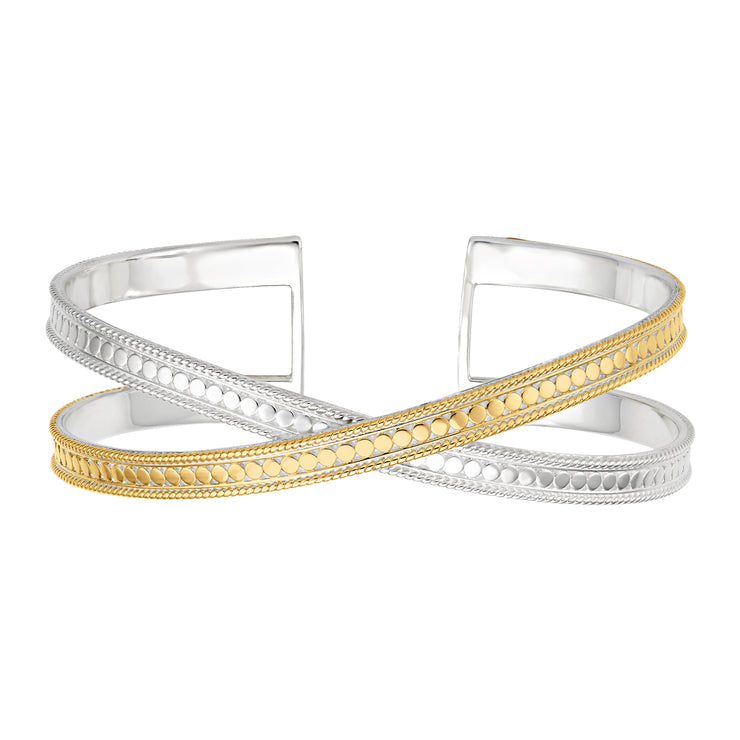 Anna Beck Single Cross Cuff Silver and Gold