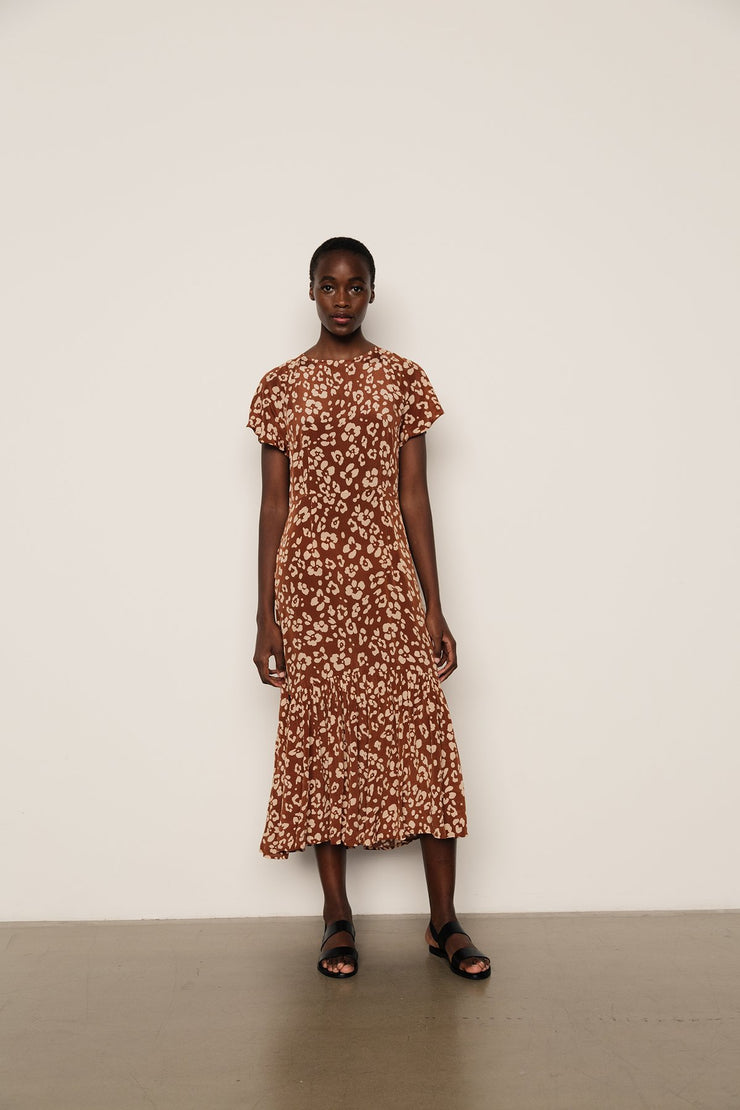 Rae Dress Floral Leopard Mahogany