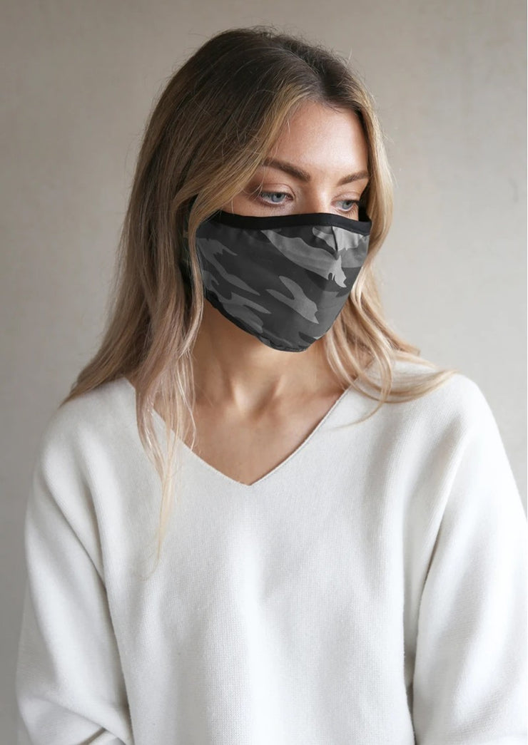 Breathe Adult Face mask Grey Camouflage