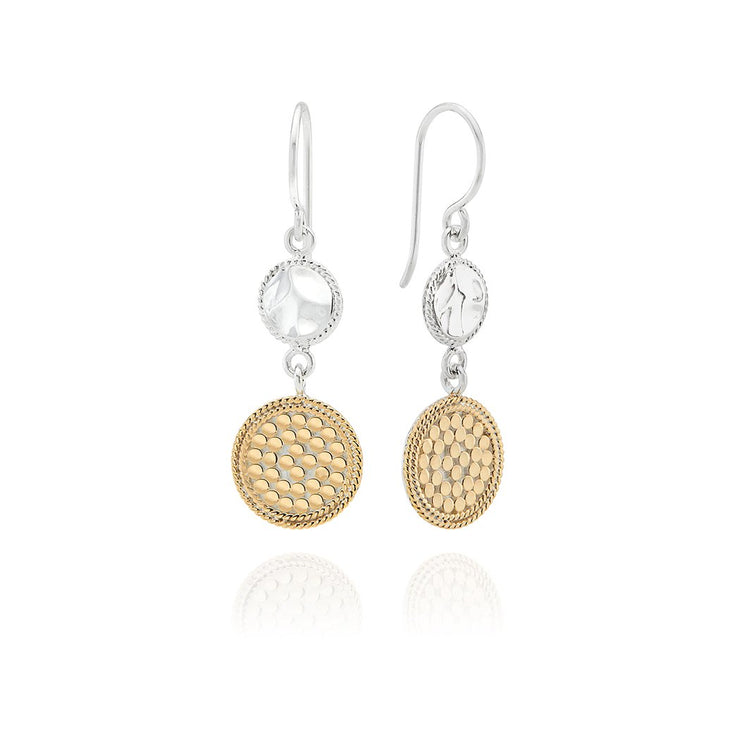 Signature Hammered and Dotted Double Drop Earrings Gold and Silver