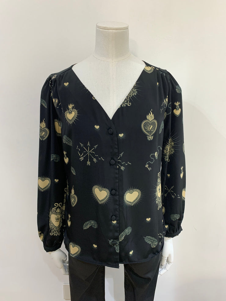 Betty Heart Blouse Black/Nude