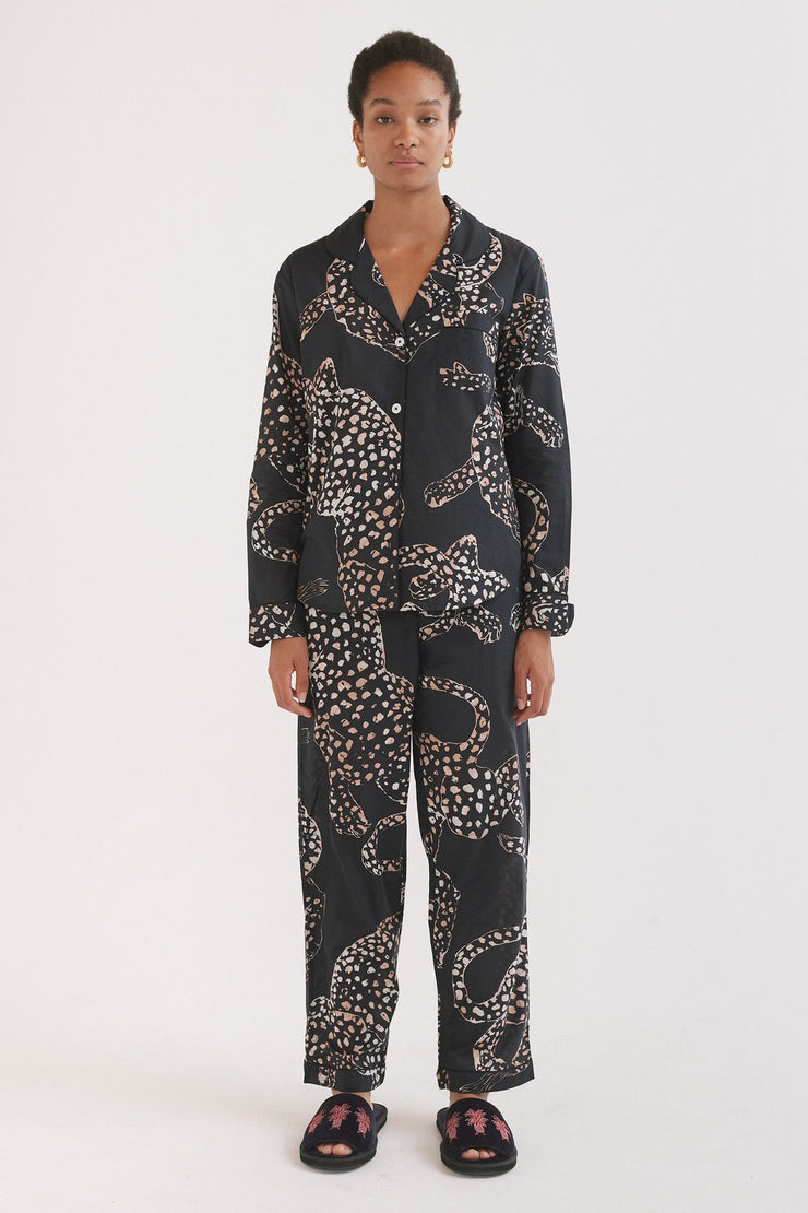 Long Pyjama Set Jaguar Print Navy