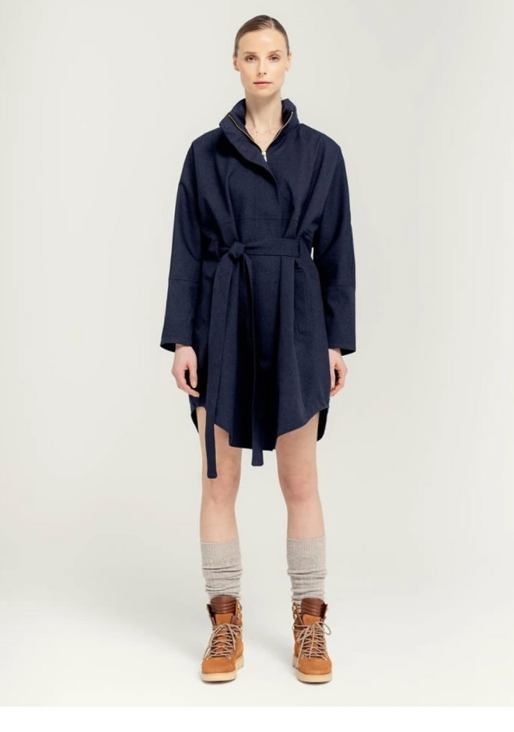 BRGN Bris Poncho Coat Dark Navy