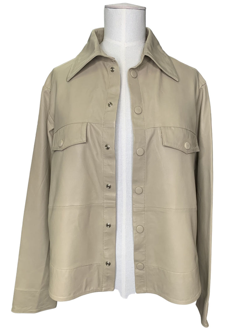 MDK Naomi Thin Leather Shirt Pale Khaki