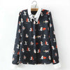 Cute Cat Long Sleeve Shirt  Blouse