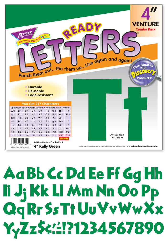 Venture 4 Inch Uppercase/Lowercase Kelly Green