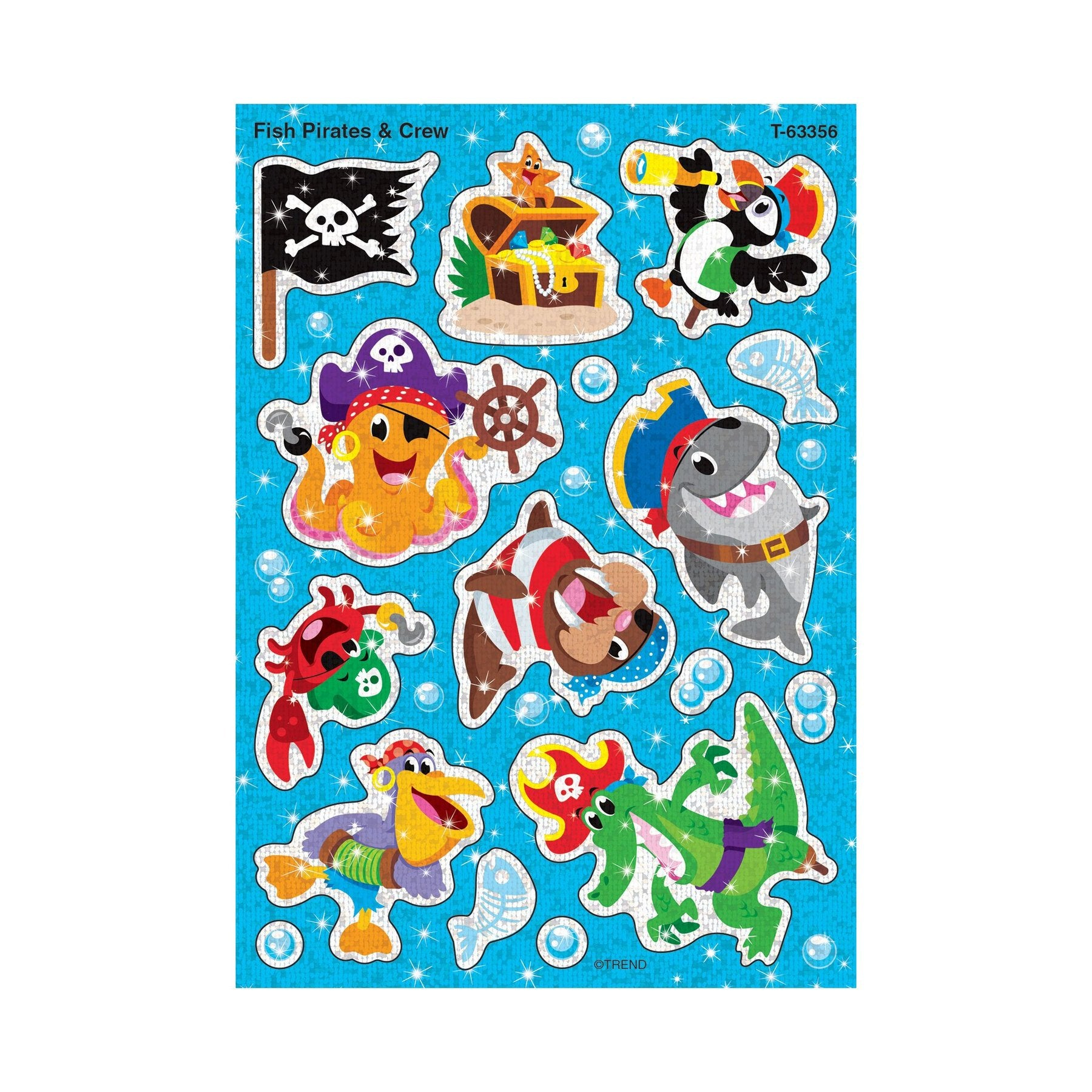 Fish Pirates & Crew Sparkle Stickers® – Large