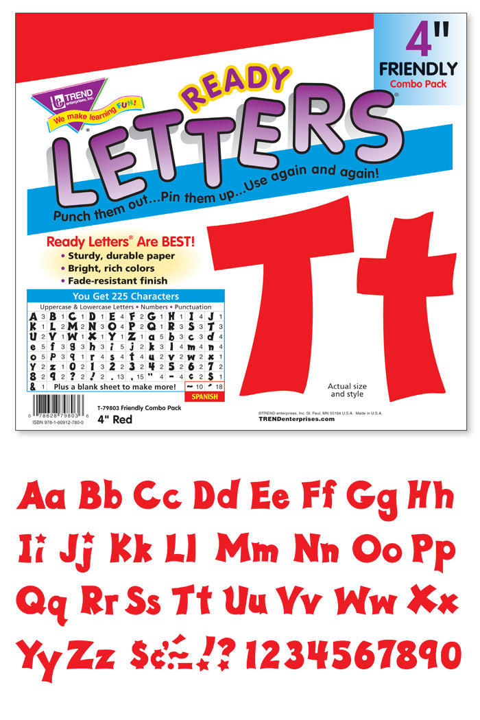 Red 4-Inch Friendly Uppercase/Lowercase Combo Pack (EN/SP)