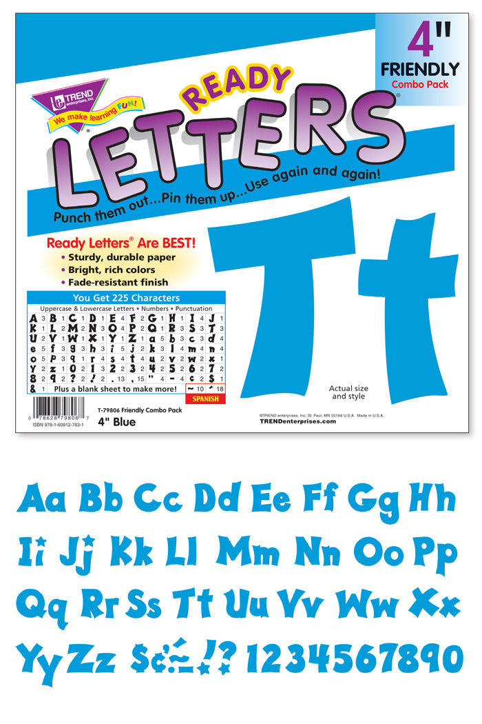 Blue 4-Inch Friendly Uppercase/Lowercase Combo Pack (EN/SP)