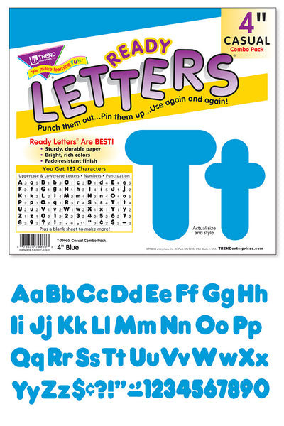 Blue 4-Inch Casual Uppercase/Lowercase Combo Pack