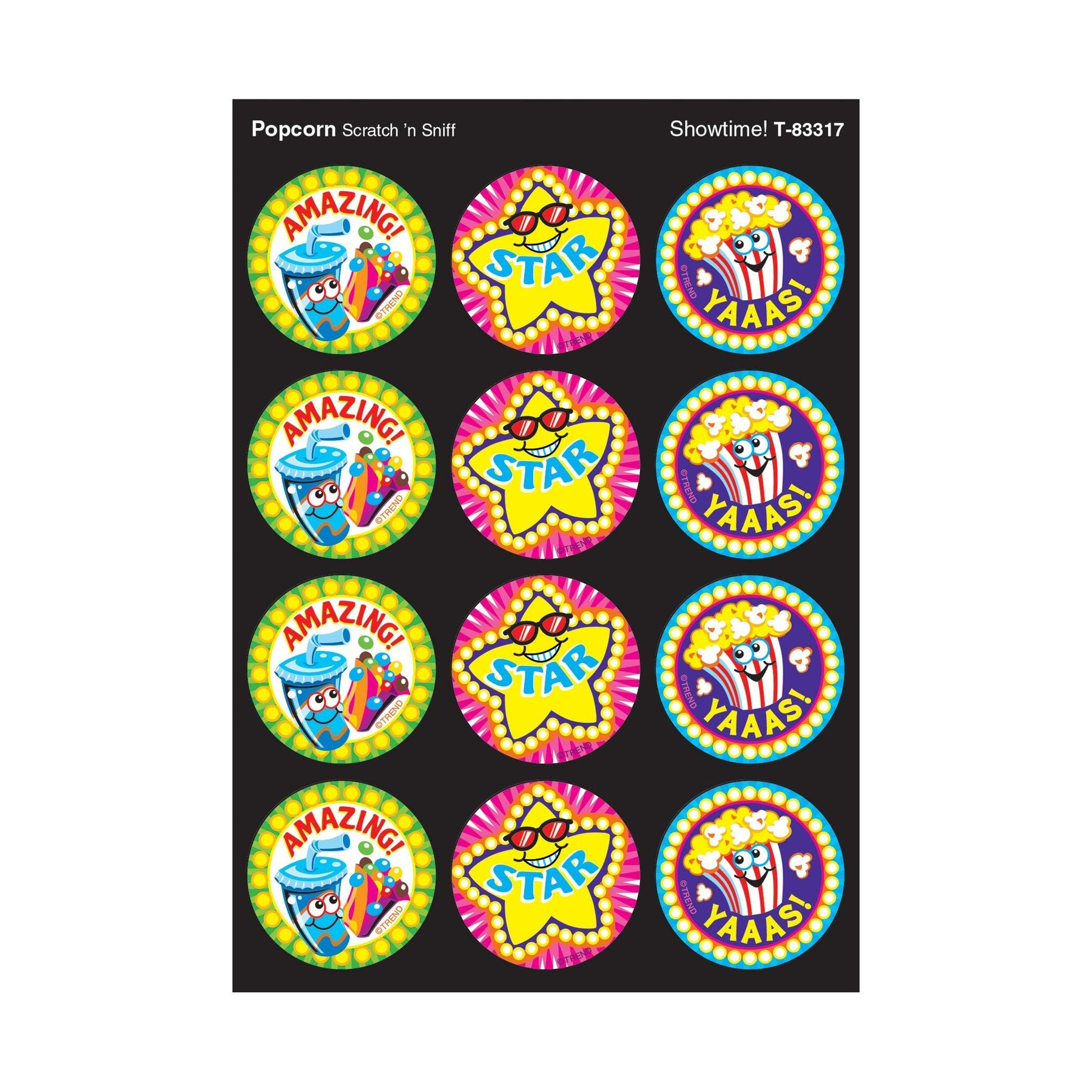 Showtime!, Popcorn scent Scratch 'n Sniff Stinky Stickers® – Large Round